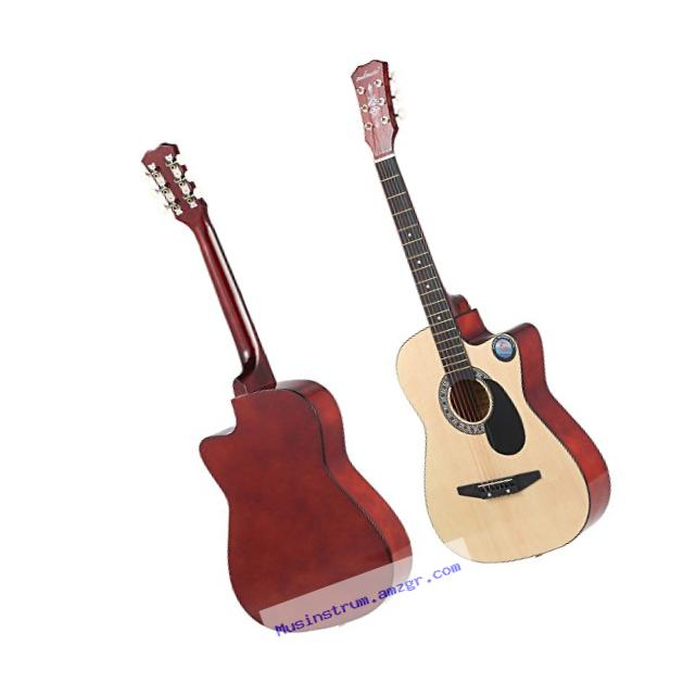 ammoon 6-String Folk Acoustic Guitar for Beginners Music Lovers Students Gift