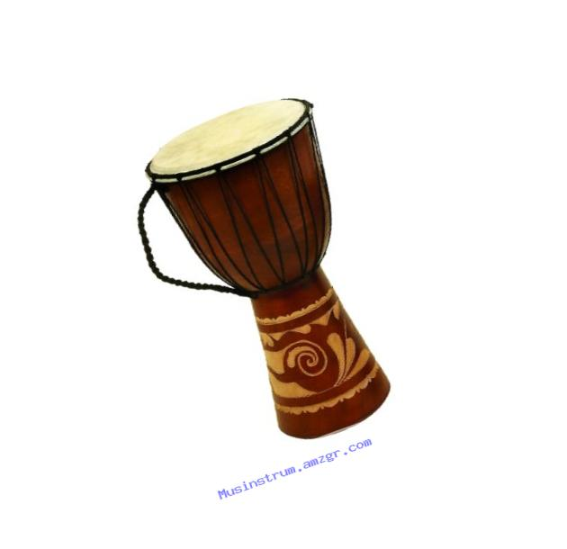 Deco 79 89847 Wood Leather Djembe Drum Home D?�cor Product, 16